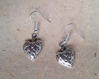 strawberry earrings silver, fruit earrings