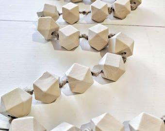 Raw Wood Bead Garland, Garland ,Geometric Wood Bead Garland, Hexagon wood Bead Garland, Bead Garland , Wood Bead Garland, Wood Beads,