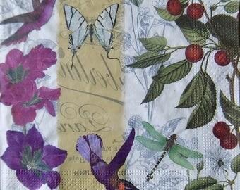 4 * Paper napkins for decoupage, floral napkins