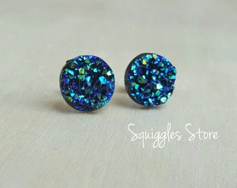 Hypoallergenic Stud Earrings with Titanium Posts - Small Ocean Blue Sparkling Faux Druzy - Sensitive Ears