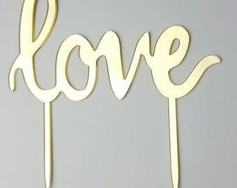 Gold Love Cake Topper Wedding Cake Topper - Acrylic Cake Topper