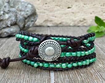 Triple Wrap Leather Bracelet Green Seed Beads