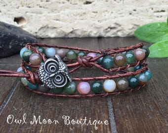 Jasper Gemstone Double Wrap Leather Bracelet