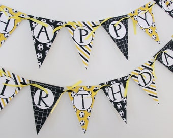 Soccer Banner, Happy Birthday Banner, Pennant Banner, Soccer Birthday Decorations, Yellow and Black Birthday Decor, Athletic Birthday Banner