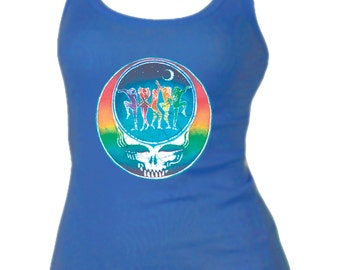 Grateful Dead Women's Tank Top  - Dance Your Face ladies tank top. Steal Your Face/Stealie/ Stealy/Dancers/Rainbow
