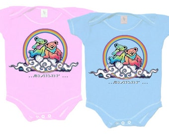 Grateful Dead Baby One Piece Smiling Bears on a Cloudy Day / Dancing Bears /Baby / kids/ 100% cotton/Onesie/creeper/romper
