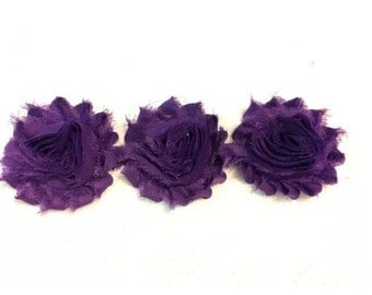 """Purple Gorgeous Shabby Frayed Chiffon Flower Rosettes 3 x 2.5"""", hair bands, clips, crafts etc"""