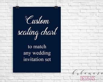 CUSTOM SEATING CHART, Add on seating chart matching any invitation design