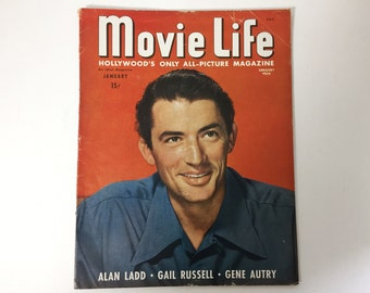 Movie Life Magazine January 1947 - Cover Grogory Peck - Vintage Movie Magazine - Inside Alan Ladd, Gene Autry, and Stewart Granger