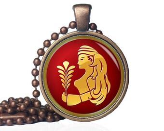 Virgo pendant - Virgo necklace - Virgo jewelry - Virgo birthday gift - Virgo Gift - Zodiac jewelry - Zodiac Pendant - Zodiac Necklace