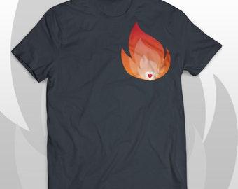 T-shirt Heart on fire - Cool rocker tee