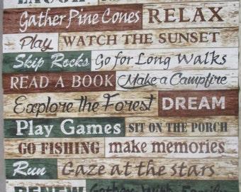 Cabin Rules,Sharing and Fun, Timeless Treasures 2/3 yard