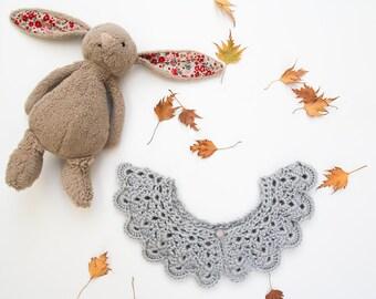 Child's Peter Pan Collar, Crochet Necklace, Detachable Collar, Collars & Bibs, Vintage Collar, Dove Grey, WeeYarn