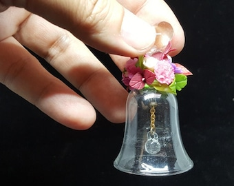 Bell glass with flower clay for collectable