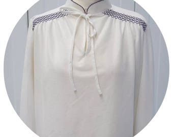Vintage 70s White C&A long sleeved Top Size 18