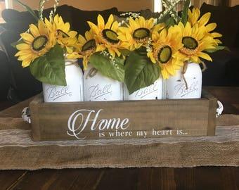 mason jar centerpiece, mason jar decor, mason jar spring centerpiece, sun flower decor, country decor, mason jar rustic centerpiece, jar