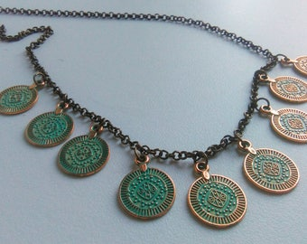 Coin Necklace, Boho Gyspy Necklace, Ethnic Patina Necklace, Verdigris Necklace, Tribal Charm Necklace, Coin Jewelry, Metal Coins
