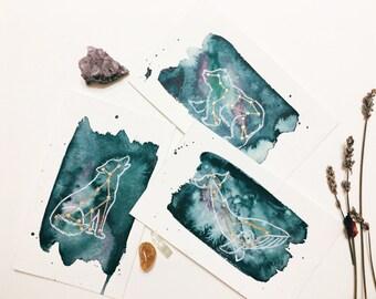 Animal Constellation, Original Painting, Postcard, Art Decor, Animal Art, Boho, Space, Stars, Watercolor Paintings