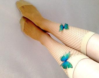 Over the Knee Socks with Butterflies for Spring-Summer Walking, Fluttering Butterflies, Blue Butterflies, Over the Knee Socks for Fairy Lady