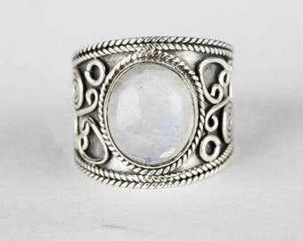 Moonstone Ring, Moonstone Gemstone Sterling Silver Ring, Silver Moonstone Ring, Moonstone Jewelry, Boho Ring, Handmade Ring, Healing Ring