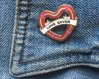 Love Saver hard enamel pin, Valentines Day, heart, lapel pin