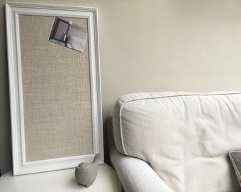 Large hessian pin board Hessian message board Hessian memo board Hessian bulletin board White pin board White cork board Fabric notice board