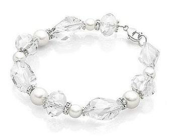 Handmade Swarovski Pearl & Fancy Cut Crystal Beaded Bridal Bracelet, Bridal, Wedding (Pearl-463)