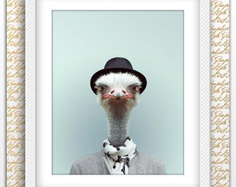Ostrich Print, Ostrich printable, Ostrich poster, Ostrich art, Ostrich wall art, Printable Ostrich, Animal Wall Art, Animals printable Gift