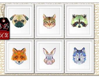 Polygon animal, Set Animals art, Animals Prints, Geometric animal, Polygon poster, Animals Illustration, Animals Geometric, Animal printable