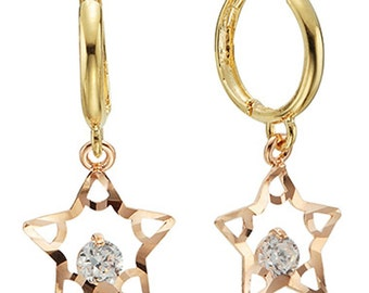 14k Solid Yellow&Rose Gold Hoop Earrings Cielo 6816 Charming Star Design Lovely