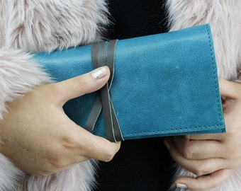 Jersey Teal Leather Clutch Bag, Leather Clutch, Blue Clutch, Blue Leather Bag, Leather Bag, Leather Purse, Teal Purse, Teal Bag, Evening Bag