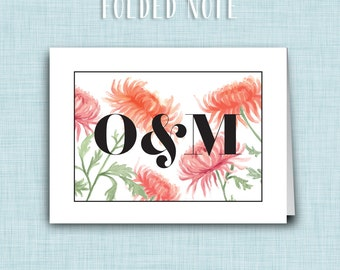 Printable Thank You Cards or Folded Notes • Watercolor Chrysanthemums