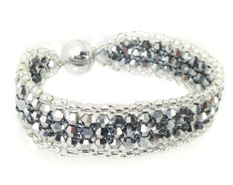 Bracelet - Crystal cut glass - Jet Hematite / Silver (BS-1332)