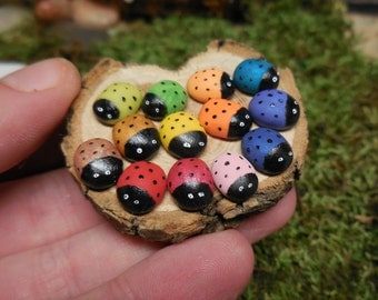 Miniature Ladybugs, Tiny Ladybugs for Terrariums, Fairy Gardens, and Dollhouse Miniatures, Miniature Artificial Insects