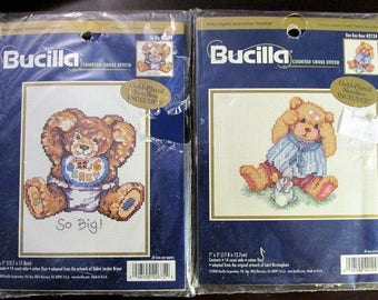 "2 Bucilla Teddy Bear Cross Stitch Kits So Big 42675 and Boo Boo Bear 42124 New 5"" x 7"""