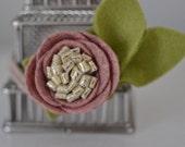 Dusty rose with metallic gold center felt flower headband