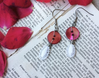 """Romantic earrings """"ONE love"""" with Pearl buttons and antique lace, long drop, vintage buttons and lace, vintage button jewelry"""
