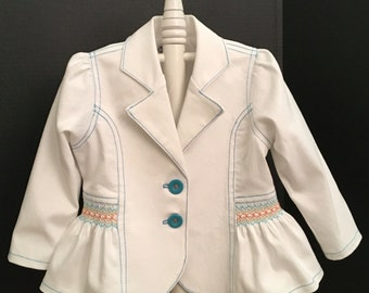 This Stretch Denim Toddler Jacket  With Smocked Trim In Aqua, Orange  and Lime Sizes 2-4-6