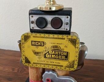 """Meet:""""Max"""" Found Object Art Assemblage Robot"""