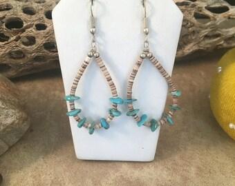 Vintage Navajo Turquoise Beaded Dangle Earrings