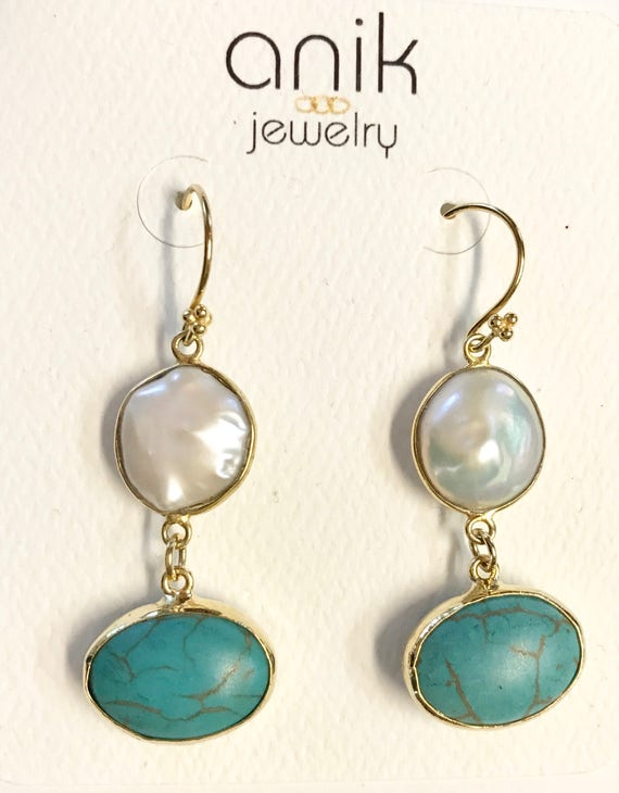 """Pearl and Turquoise Earrings, Oval Shape Turquoises, Hook Earrings,14K Gold Plated, 2"""" Long"""