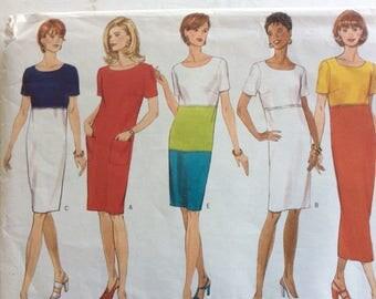 Women's Sheath Dress,Semi Fitted Dress Pattern,COlor Block Dress Pattern,Career Dress Pattern, Sze 6 - 10 Pattern,Knee Length Dress Pattern