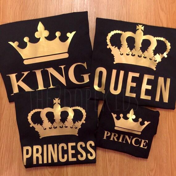 family shirts set king queen prince princess black gold design. Black Bedroom Furniture Sets. Home Design Ideas