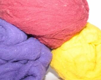 Peace Fleece roving, purple, yellow, dark red