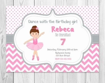 PE11 - BALLERINA BALLET INVITATION - to personalize, birthday, babyshower. Digital download
