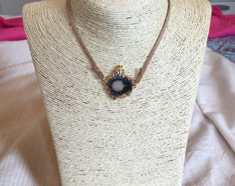 leather choker w/ agate