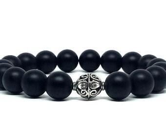 Single wrap Matte Black Onyx w/Bali Silver bracelet, Gemstone bracelet, Gift for him, Gift for her, Birthday gift, Graduation gift