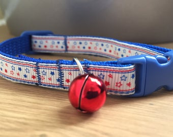 Red, White and Blue Tiny Stars Cat/Kitten Collar with Blue (Quick Release)