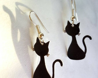 Cat earrings studs or hanging