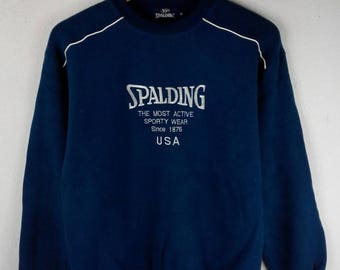 RARE!!! Spalding Big Logo Embroidery SpellOut Crew Neck Dark Blue Colour Sweatshirts Hip Hop Swag M Size